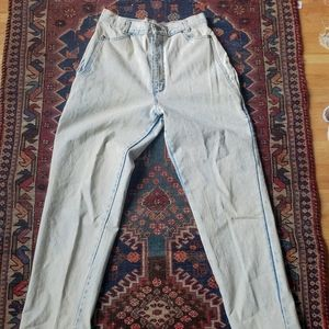 Acid wash ultra high rise waisted 80s denim jeans